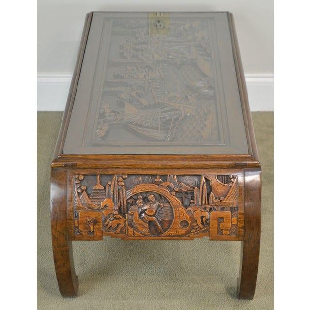 Vintage Oriental Asian Hand Carved Hardwood Coffee Table For Sale In Philadelphia - Image 6 of 13