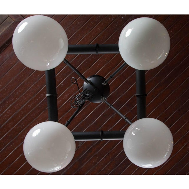 Late 20th Century Four White Globe Black Metal Faux Bamboo Chinoiserie Chandelier For Sale - Image 5 of 6