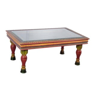 Wooden Carved Hand-Painted Coffee Table For Sale