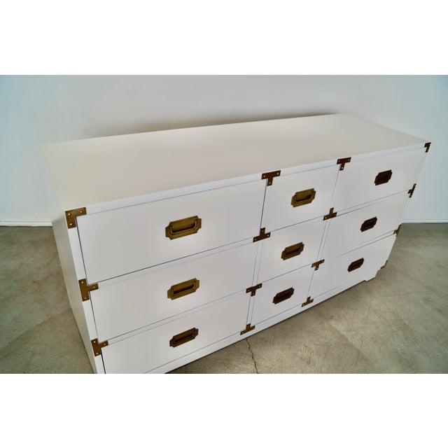 White 1960s Drexel Campaign Hollywood Regency Dresser For Sale - Image 8 of 13