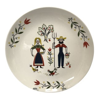 Homer Laughlin Folk Art Display Plate For Sale