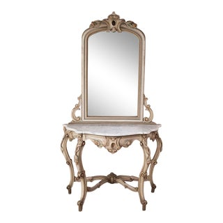 Antique Venetian Painted Console With Mirror For Sale