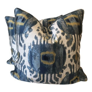 "Ikat Medallion 22"" Pillows-A Pair For Sale"