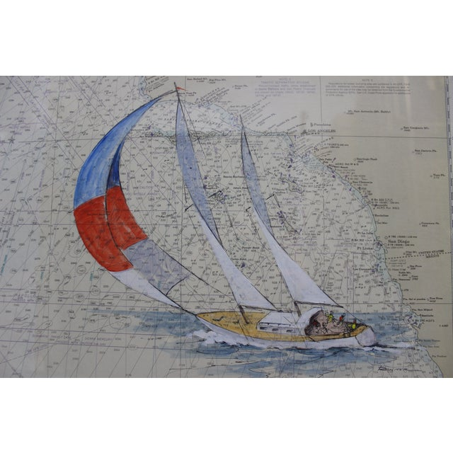 Catalina Island Sailboat Gouache by Renner For Sale - Image 4 of 6