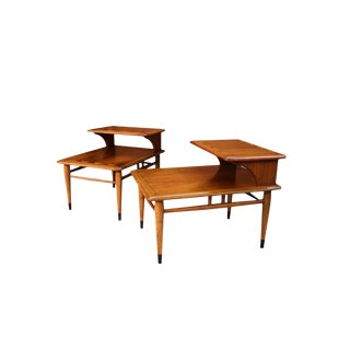 Mid Century Lane Acclaim Dovetail Two Tier End Tables Pair For Sale