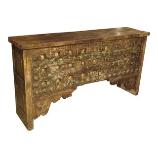 A Large Patinated Wood and Iron Console Table From India For Sale