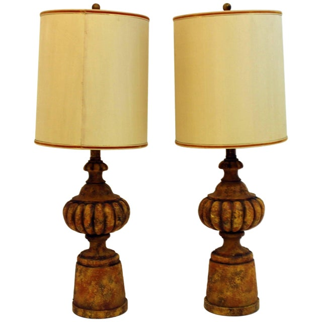 Mid-Century Modern Pair of Michael Taylor for Chapman Gesso Stone Table Lamps For Sale - Image 11 of 11