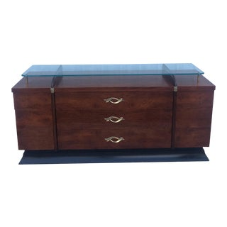 Mid Century Mahogany Lowboy Dresser With Glass Top For Sale