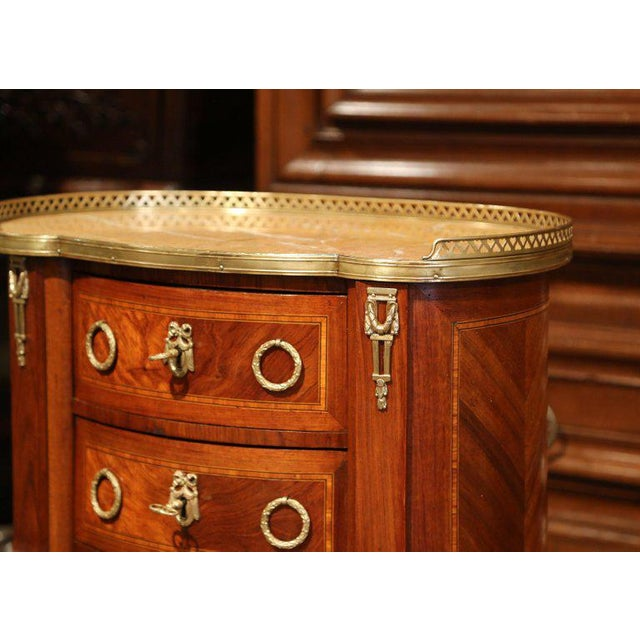 19th Century French Louis XV Walnut Commode Nightstand Chest With Marble Top For Sale - Image 4 of 10
