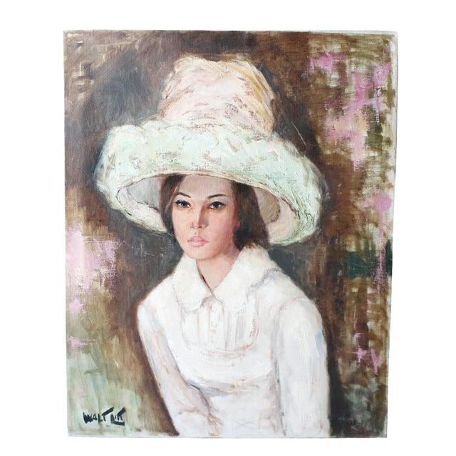 Walt Litt Portrait of a Woman Vintage Oil Painting For Sale