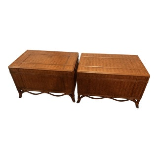 1960s Chinoiserie Maitland Smith Bamboo Rattan Trunks - a Pair For Sale