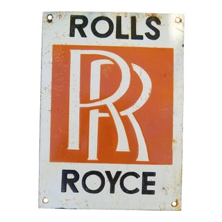 Enamel Vintage Rolls Royce Sign For Sale