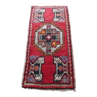 Vintage Mid Century Decorative Small Turkish Rug 1′8″ × 3′4″ For Sale