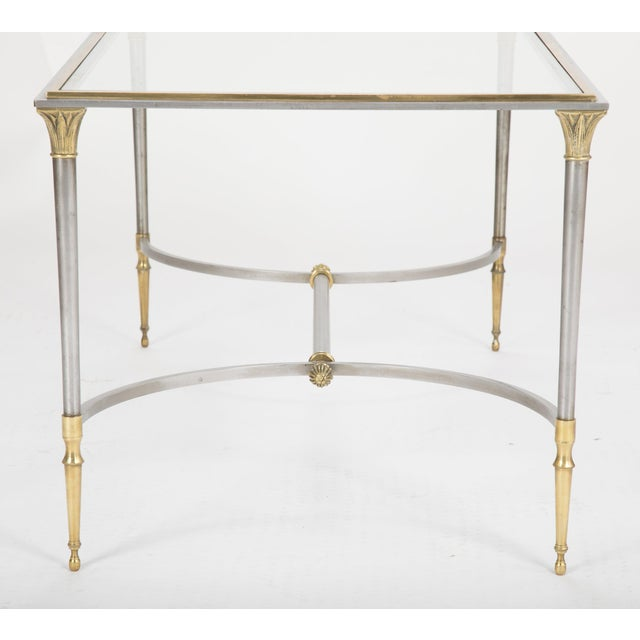Gold Maison Charles Steel & Bronze Glass Top Coffee Table For Sale - Image 8 of 13
