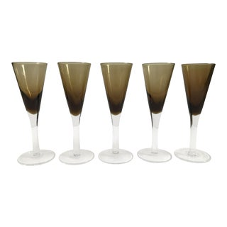 Glass Amber Cordial Glasses — Set of 5