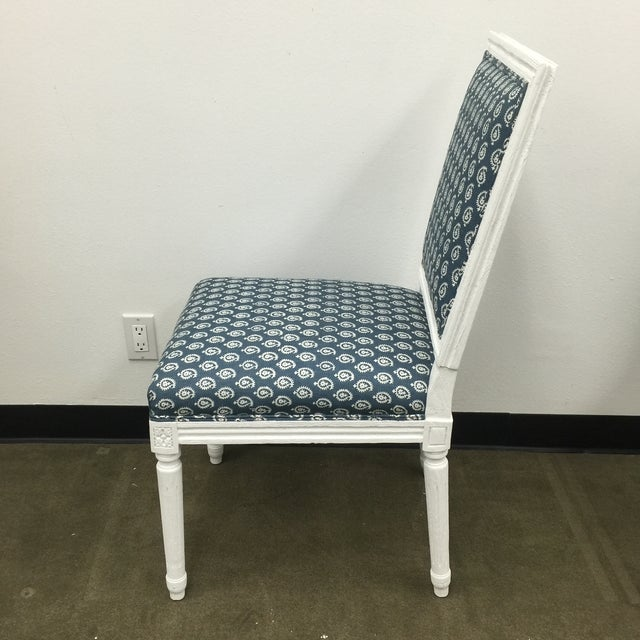 White French Style Dining Chairs in Batik Fabric - Set of 6 For Sale In Los Angeles - Image 6 of 10