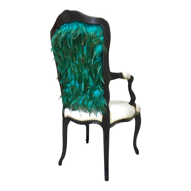 Modern Teal Feather Chair For Sale