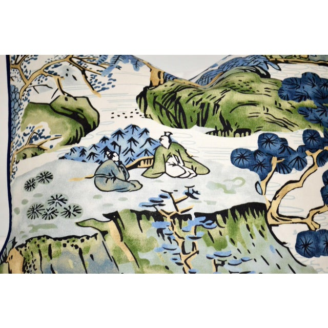 Stunning, Asian Scenic print pillow by Thibaut in a linen cotton blend. Contrasting welt in navy blue with a cotton linen...