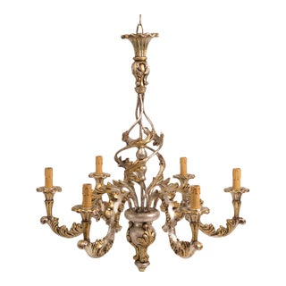 Italian Silver Leaf Wood Chandelier
