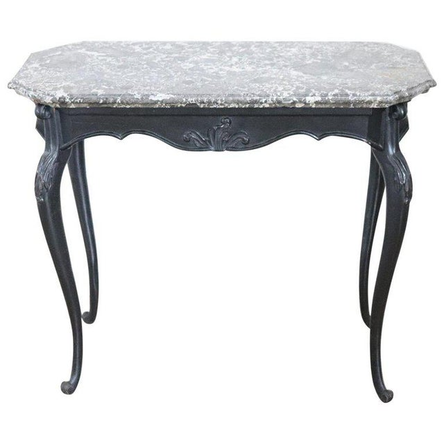 18th Century Italian Louis XV Walnut Carved Center Hall Table With Marble Top For Sale - Image 13 of 13