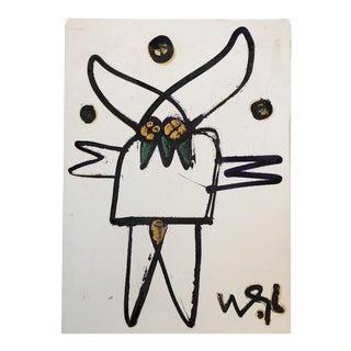 Original Vintage Wayne Cunningham Abstract Figure Oil Painting 1990'sg For Sale