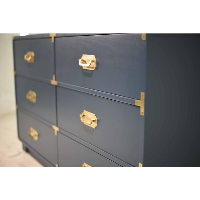 1970s Blue Six Drawer Campaign Dresser or Chest - Newly Painted For Sale - Image 10 of 12