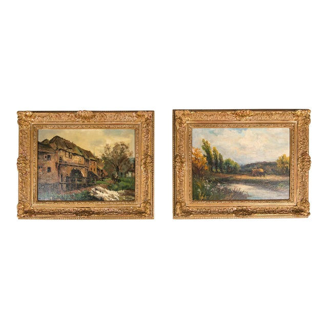 Late 19th Century Oil Painting on Board With Giltwood Frame - a Pair For Sale