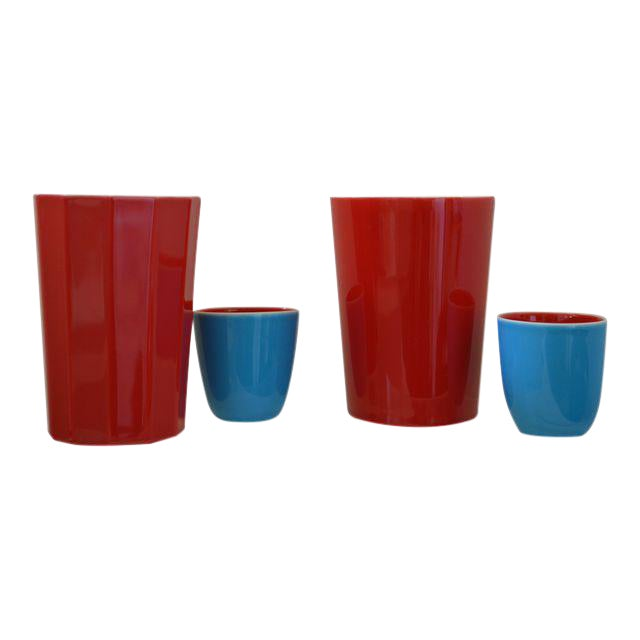 Japanese Fine Porcelain Sake Flask and Cups - Set of 4 Turquoise Blue Red and White For Sale