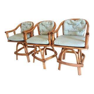 Mid Century Rattan Swivel Chairs- Set of 3 For Sale
