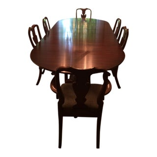 Queen Anne Henkel Harris Mahogany Dining Set - 7 Pieces For Sale