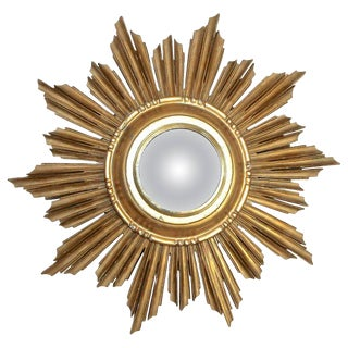 French Soleil Sunburst Giltwood Convex Wall Mirror
