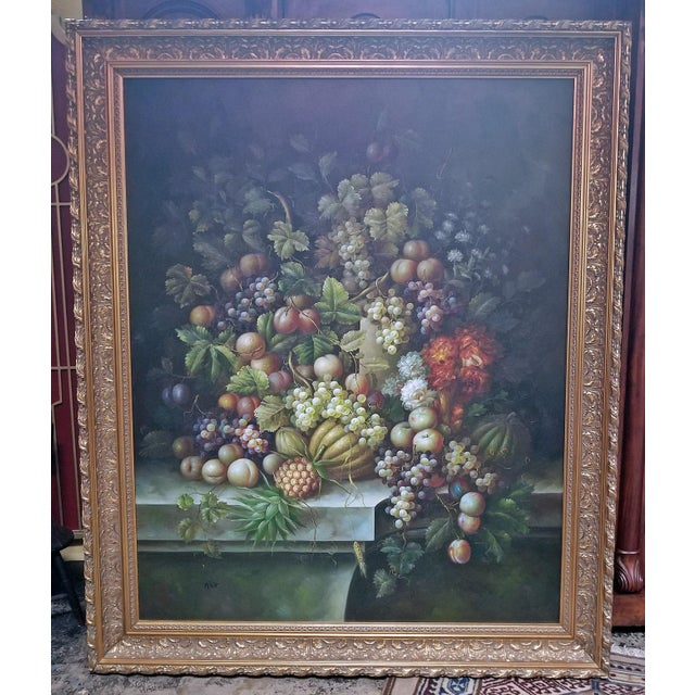 Fruit Still Life Oil Painting on Canvas by M. Picot For Sale - Image 4 of 9