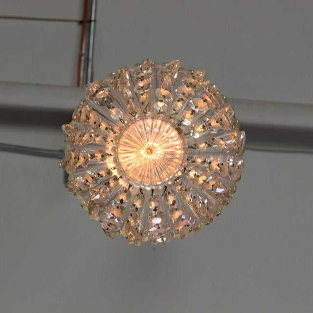 1940s French Crystal and Glass Pendant Ceiling Fixture - Image 8 of 11