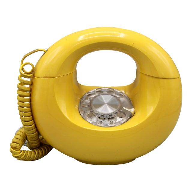 1970s Art Deco Lemon Yellow Rotary Telephone For Sale