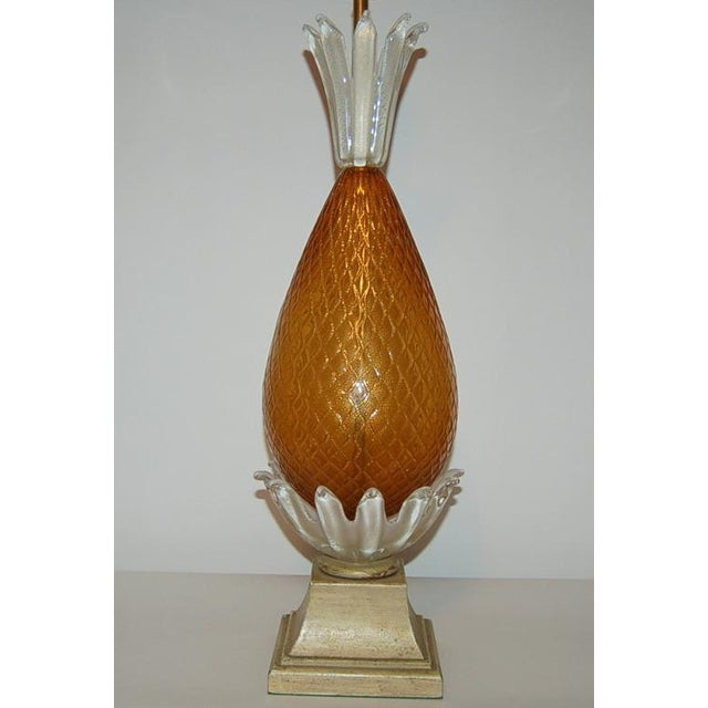 Brass Vintage Murano Glass Pineapple Table Lamp Gold Large For Sale - Image 7 of 10