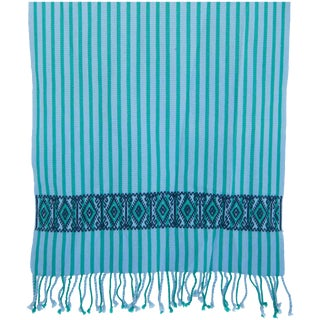 Striped Turquoise Mexican Table Runner