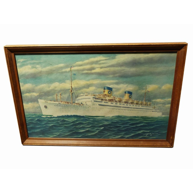 Vintage Print of Atlantic Cruiseliner - Image 2 of 7