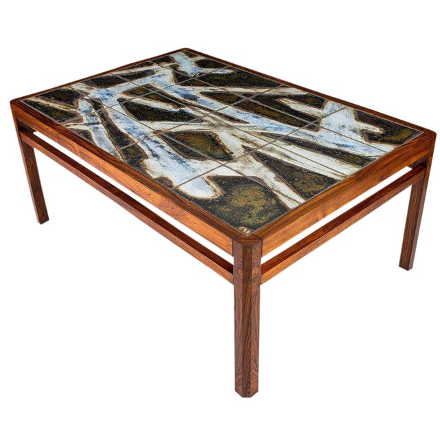 Danish Abstract Tile Coffee Table - Image 1 of 10