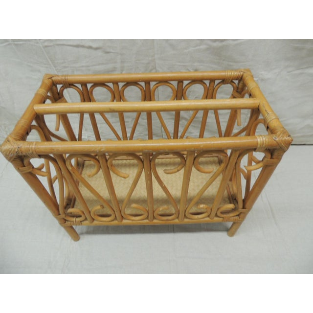 Contemporary Vintage Bamboo Rectangular Shape Magazine Rack For Sale - Image 3 of 5