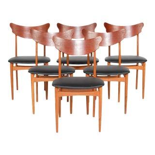 Danish Modern Teak + Oak Dining Chairs - Set of 6 For Sale