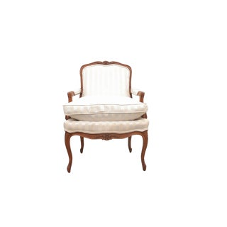 1980s Vintage Silk Bergere Chair For Sale