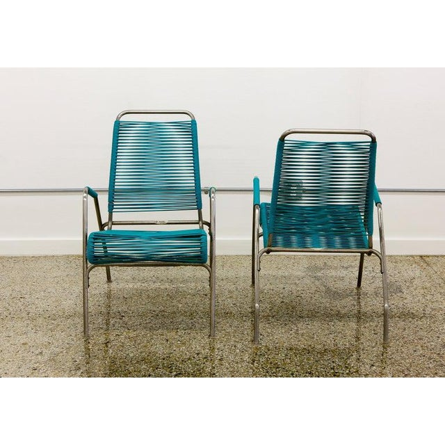 Patio Furniture by Surf Line, 2 Lounge Chairs, 1 Chaise in Stainless and Aqua For Sale - Image 4 of 13