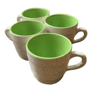 1900's Pluazid / Zuid-Holland, New Porcelain, by w.p. Hartgring, Eggshell Brown Speckled & Lime Interior Espresso Cups, Set of 4 For Sale