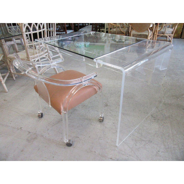 Lucite & Glass Lucite Waterfall Desk - Image 3 of 8
