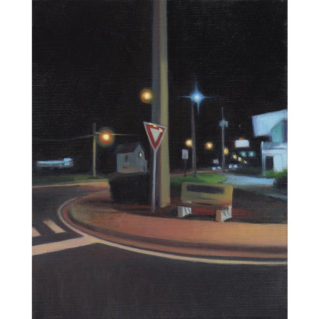 "Peter Oil Painting ""Corner Bench"", Contemporary Small Cityscape For Sale In West Palm - Image 6 of 6"