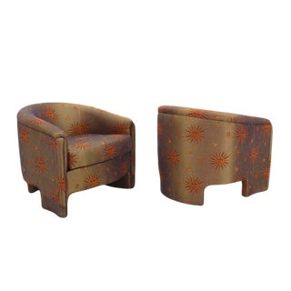 Pair of Barrel Back Mid-Century Modern Lounge Chairs
