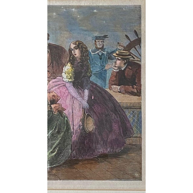 """Mid 19th Century 1861 """"September—Society Yachting"""" Hand Colored Print, Framed For Sale - Image 5 of 9"""