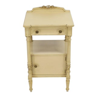 Flint Horner Carved Painted White Stand One Door One Draw Cabinet Stand For Sale