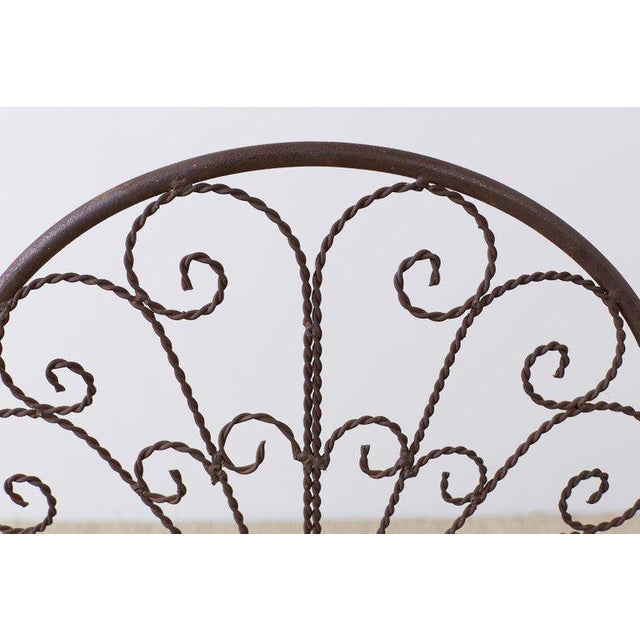 Salterini Style Iron Fan Back Garden Patio Chairs For Sale - Image 11 of 13