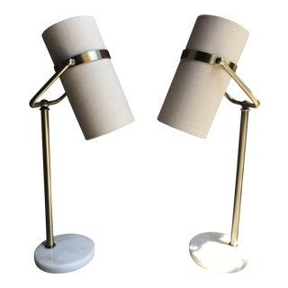 Adjustable Marble Brass Lamps & Linen Shades -A Pair